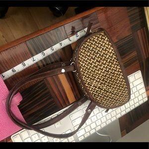 Vintage Bags - Set of 2 woven vintage mini purses wooden handles!